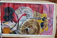 """""""UMBRELLA STILL LIFE"""" by R Freeman ACRYLIC ON UN STRETCHED CANVAS 18"""" X 30"""""""