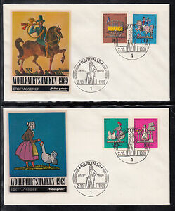 A36) Germany Berlin 2 beautiful FDC / Letters / Covers / Pewter Figurines / 1969