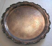 ANTIQUE WILCOX SILVERPLATE ROCOCO STYLE ROUND TRAY ON 4 LEGS