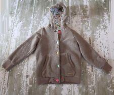 LITTLE JOULES Long Sleeve Brown LISA Button Front Fleece Hooded Jacket Coat 9 10