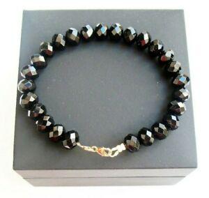 14 k solid yellow gold large black onyx beads 8 bracelet men women gem bangle