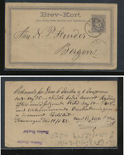 Norway    nice postal  card  to  Bergen  1882         KL0604