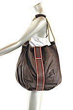 GIANFRANCO FERRE Brown Leather Shoulder Tote w/ Red/Tan Trim & Coin Purse