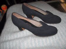 Vintage 1940's Black Soft Suede Shoes by Millerkins by L. Miller Size 6