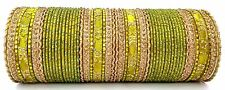 Indian Bollywood Ethnic Bridal Collection 52pcs Green Colored Bangles Set 2.6