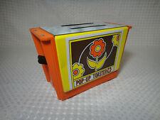 Vintage Metal Tin Toy Pop Up Toaster Flowers Orange Yellow Brown