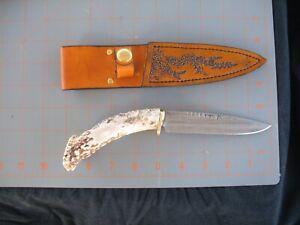 "One-of-a-kind handmade Damascus Knife, 5"" blade, 9"" OAL, Antler Handle"