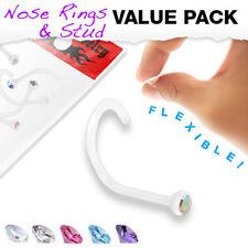 5 Pcs Pack Assorted Clear BioFlex Nose Screw Ring with Assorted Bezel Set CZ Gem