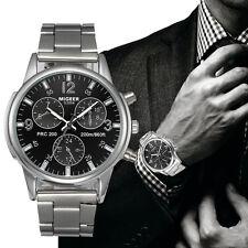 Moda hombres cristal de acero inoxidable analógico reloj pulsera de cuarzo