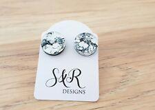 Silver Chunky Glitter Circle Stud Earrings Stainless Steel Earrings