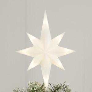 """Light-Up LED Star of Bethlehem Christmas Tree Topper 11"""" Holiday Decor White"""