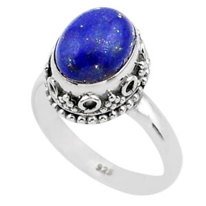 4.33cts Solitaire Natural Blue Lapis Lazuli Oval 925 Silver Ring Size 7.5 T27269