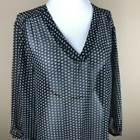 Old Navy Women's 3/4 Sleeve Top Blouse Size XL Black Tan, Geometric Pattern