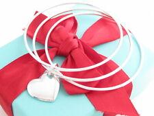 "Auth Tiffany & Co Silver Double Heart Triple Bangle Bracelet Medium Wrist 7.5"""