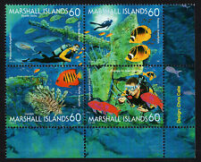 MARSHALL ISLANDS, SCOTT # 644, PLATE BLOCK OF 4 MARINE LIFE, TYPES OF FISH, MNH