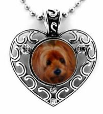 "YORKSHIRE 'YORKIE' DOG SNAP BUTTON CRYSTAL HEART NECKLACE ON A 25"" CHAIN ~NEW!"