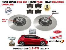 FOR PEUGEOT 208 1.6 GTI THP 165 2012-> REAR BRAKE DISCS SET + PAD KIT + BEARINGS