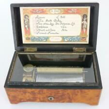More details for antique cylinder music box plays 6 airs  working order clock work burr wood case