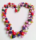 Vintage Austrian Plastic Thermoset Colorful Chunky Fruit Salad Necklace 19 Long