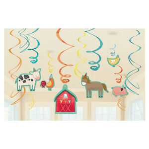 12 x Barnyard Party Farm Animal Hanging Swirl Decorations Horse Cow Pig Chick