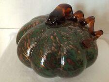 """Murano Style Glass Pumpkin Green Gold 6"""" T Fall Halloween Handblown Sculpture"""