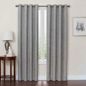 54-Inch Quinn Grommet Top 100% Blackout Window Curtain Panel In Gray Features Su