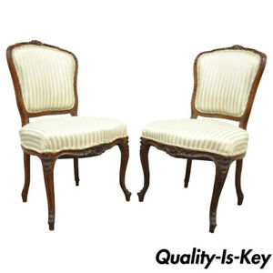 Pair of Antique Carved Walnut French Victorian Louis XV Style Side Accent Chairs