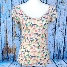 CLOVER Size S Knit Peasant Top Wide Scoop Neck Multicolor Hearts Anthropologie