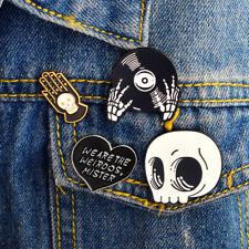 Dj Hand Skull Pins Brooch Accessories Black Heart Funny Punk Creative Letters