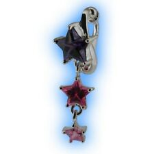 Clip Purple Pink Star Cascade Stars Fake Belly Button Ring Non Piercing Navel