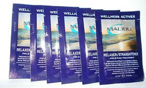 MALIBU WELLNESS ACTIVES RELAXER/STRAIGHTENER PRE & POST TREATMENT ~ LOT OF 6 pks