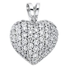 Charm Love Pave Fancy 14 x 13 mm Cz Bubble Heart Pendant Solid 14k White Gold