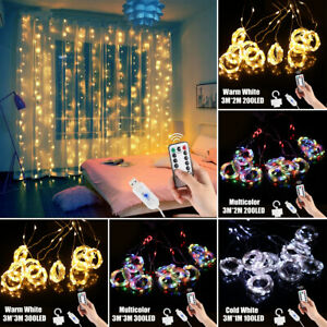 3M LED Curtain String Lights USB Remote Control Home Ornament Party Decoration