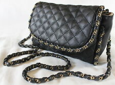 "MUST-HAVE QUILTED BLACK FLAP ""CHAIN-STRAP"" SHOULDER BAG"