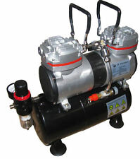 RDGTOOLS AIRBRUSH COMPRESSOR TWIN PISTON TANK AIR BRUSH COMPRESSOR AS196