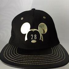 9eaca7e4557 Disney Parks Mickey Mouse Black Gold 28 Hat Cap Adult Size Faux Leather  Visor