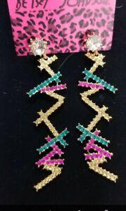 New Multi Glass Crystal Ear Drop Dangle Stud Long Tassels Earrings BetseyJohnson