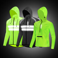 Mens Reflective Cycling Hooded Jacket Windproof Waterproof Coat MTB Bike Jerseys