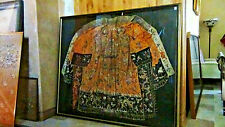 "CHINESE OLD DYNASTY PALACE EMBROIDERED"" 11 DRAGONS""SILK EMPEROR,ROBE FRAMED"
