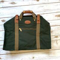 DAKOTA Tumi Carry On Bag Travel Luggage Dark Green Brown Leather Trim