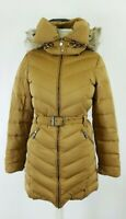 Zara Ladies Caramel Belted Down Hooded Padded Puffer Coat Jacket Size M