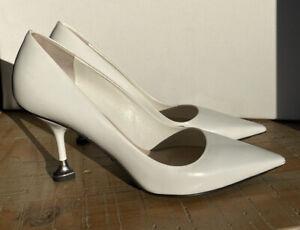 Prada Milano White Leather Heels/shoes heart shape tips  ~  Size 36 ~  New
