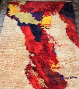 "MCM Orig CONCEPTS INTL Wool SHAG RUG Brilliant Colors 4'6"" x 6'6"" WOOL -Ege Rya"