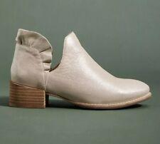 Anthropologie Seychelles Platinum Metallic Leather Ruffle Ankle Boot 7.5