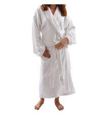 "Womens Ecro Luxury Terry Velour Bathrobe 48"" Length 100% Cotton"