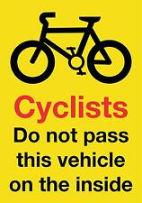 LARGE HGV/VAN/COACH Pedestrian Cyclist Warning Sticker 21x30cm Screen Printed