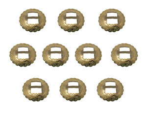 10 pcs Gold Round Scalloped Edge Metal Western Conchos Bolo Belt Leather Crafts
