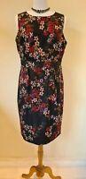 Monsoon black floral Pencil Dress Size 16 NEW