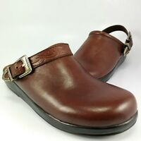 Minnetonka Moccasin SlingBacks-Mules Womens Size 6M Brown Leather Clogs Slides