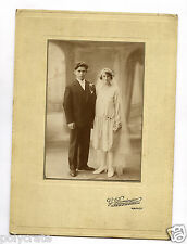 Photo ancienne couple de mariés portrait homme femme  Dominger Nancy - an. 1920